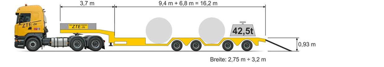4-axle Semi type Trough semi-truck
