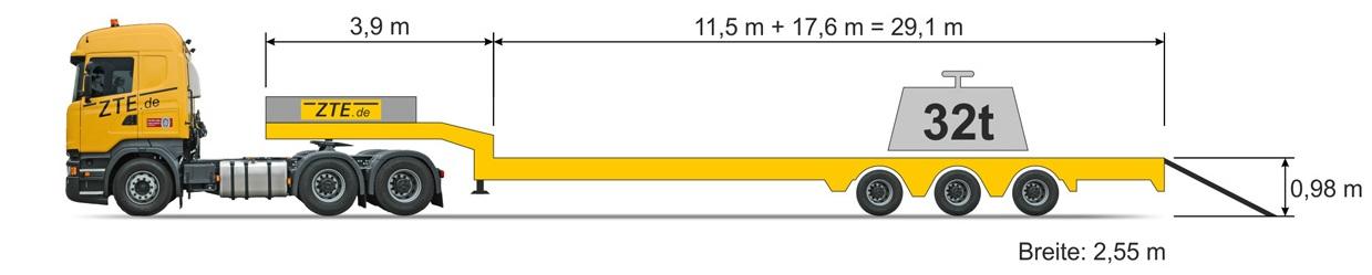 3-Achsen Semi Sattelanhänger